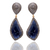 BEAUTIFUL !! 14 K Natural Blue Sapphire Champagne Diamond Drop Dangler Sterling