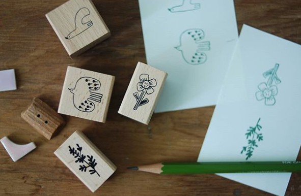 Evakaku stamps - Bird & Flora -  wooden stamps from Taiwan - perfect for