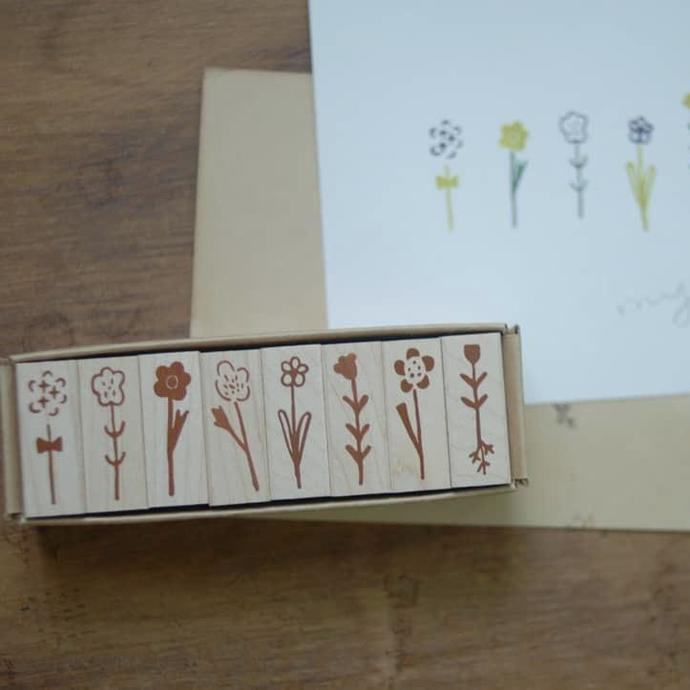 Evakaku stamps - Daily Flowers -  wooden stamps from Taiwan - perfect for