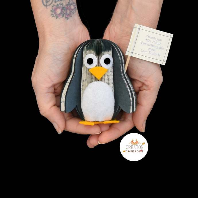 Penguin Gift - Penguin Ornament - Personalised Penguin Gift - book art -
