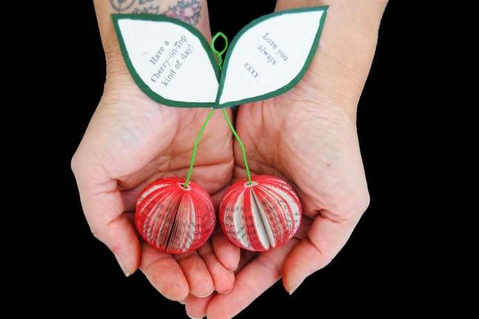 Book Art Cherries - 3D Cherry  -Personalized Cherries - Red Cherries - Handmade