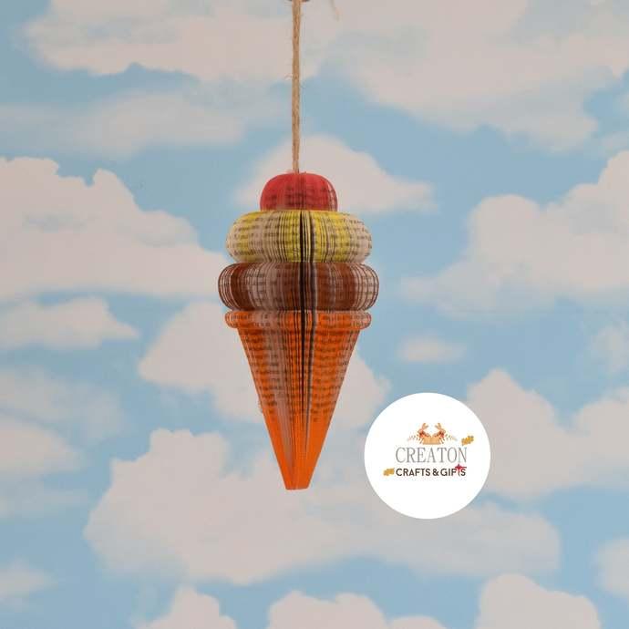 Ice Cream Cone - Neapolitan - book ornament - Ice Cream Gift - Ice cream Decor -