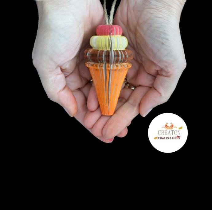 Mini Ice Cream Cone - Neapolitan - Ice Cream Gift - Ice cream Decor - Hanging