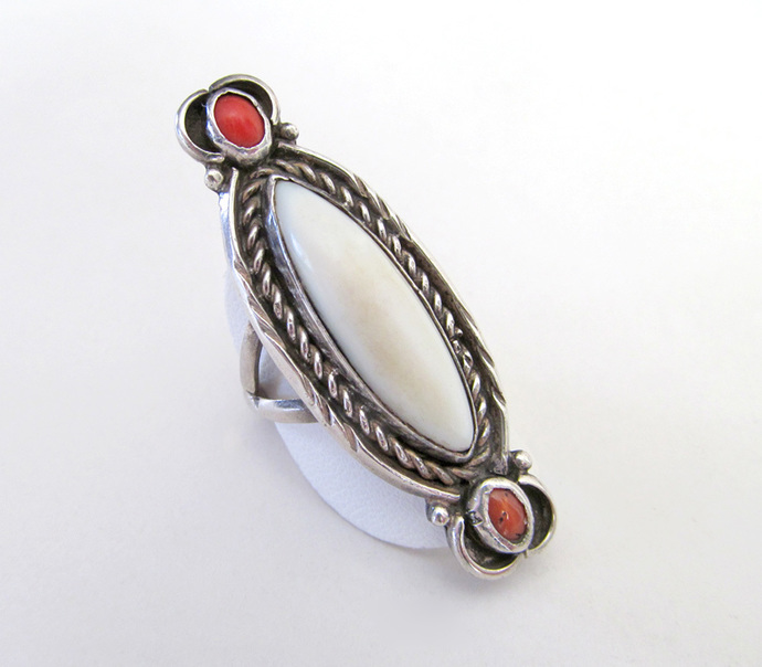 Big Mother of Pearl Sterling Silver Ring with Coral - Vintage Southwestern