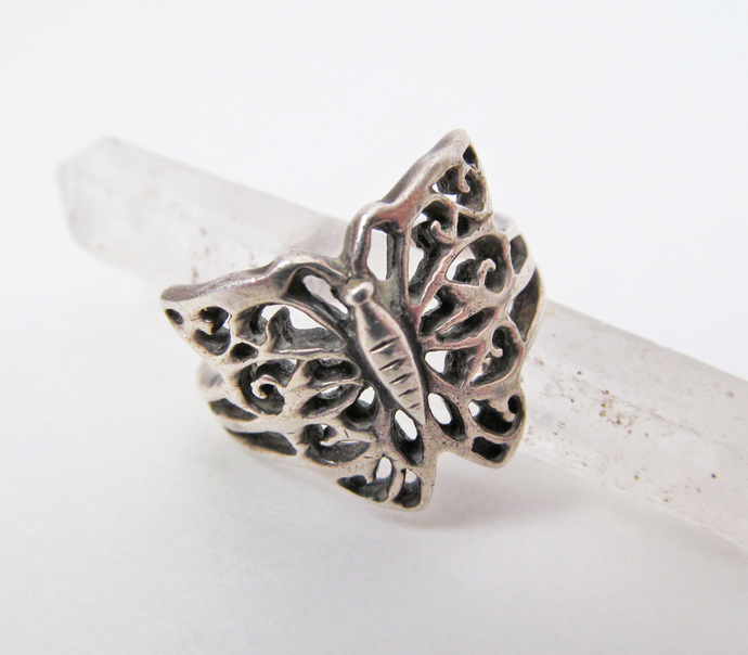 Sterling Silver Butterfly Ring - Vintage Silver Filigree Jewelry