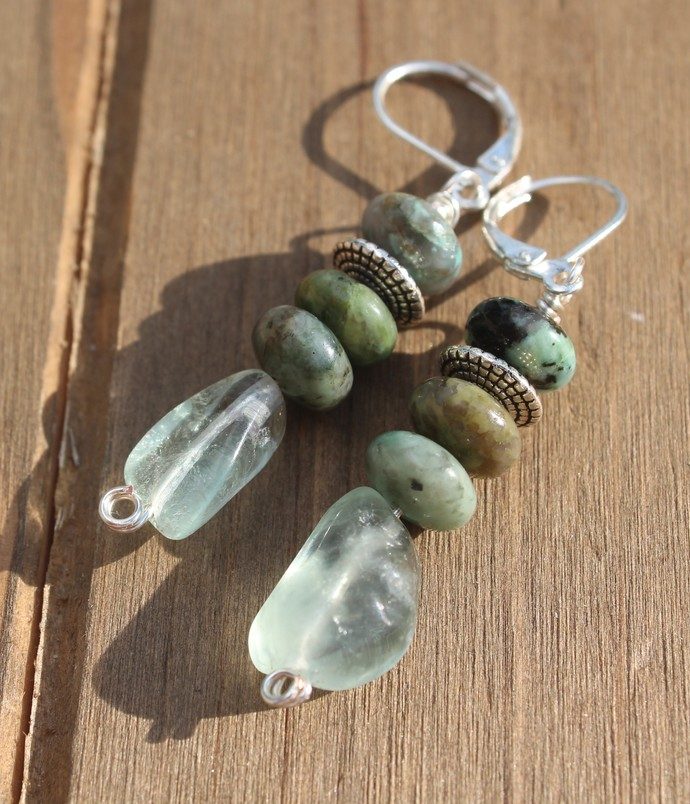 Fluorite Earrings with Turquoise Lever back 1 3/4 inches Natural Stone Jewelry