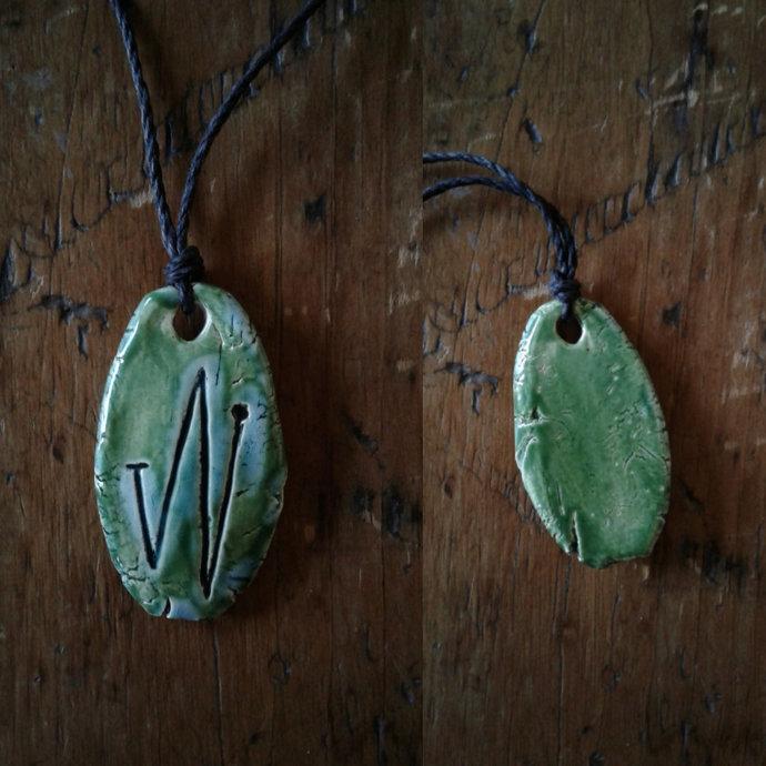 Angel Elohim Necklace Turquoise Green Archangel Sigil Ceramic Pendant Sacred