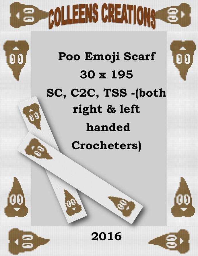 Poo Emoji Scarf Crochet Written and Graph Design