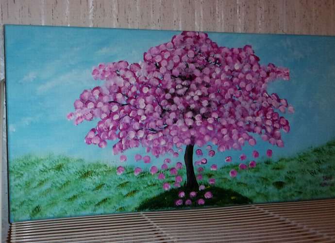 """Floral Acrylic Abstract Painting, 12x24 Painting, White """"Blooming Tree"""","""
