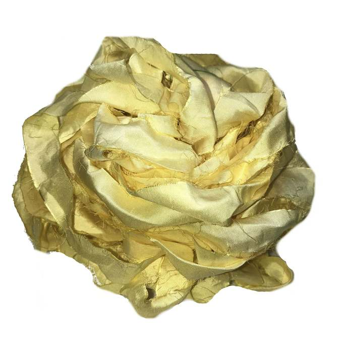 Recycled Sari Silk Ribbon - Lemon Yellow Yarn - Sari Silk Ribbons - Silk  Strips - Great for Mixed Media, Rug making, Jewellery | 30+ yards