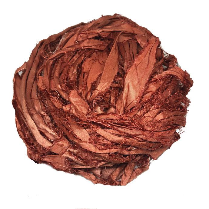 Recycled Sari Silk Ribbon - Rust Yarn - Earth Tone Silk Sari Ribbons - Silk