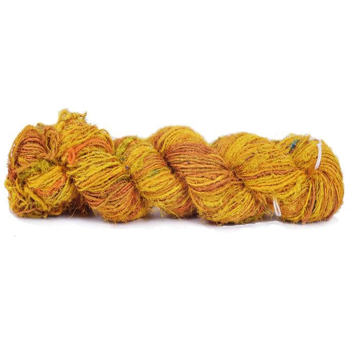 Recycled Sari Silk Yarn Yellow 100 GMS, 160 Yards, Weaving / Natural Art Fiber /