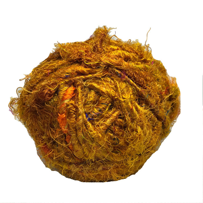 Recycled Sari Silk Yarn - 100 GR 70 YARDS - Mustard yarn, silk yarn, recycled,