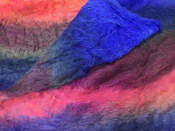 1/2/3/4 oz Mulberry Silk Lap Fiber Hand Dyed - silk fibers for spinning - fibre