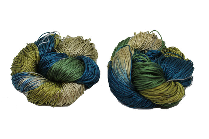 Mulberry Silk 3-ply hand Tie and Dyed yarn (50 Grams, 260 Yards)