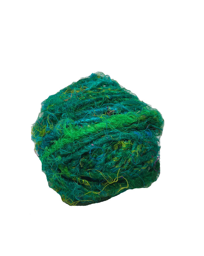 Recycled Sari Silk Bulky Yarn - Green (100 GMS) - handspun yarn, ethical yarn,
