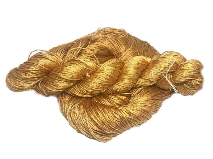 100% Pure Mulberry Silk 3 ply yarn - 260 yards - 50 gms - Mustard - knitting,