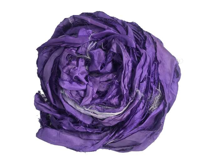 Recycled Sari Silk Ribbon - Purple Yarn - Purple Sari Silk Ribbons - Silk Strips