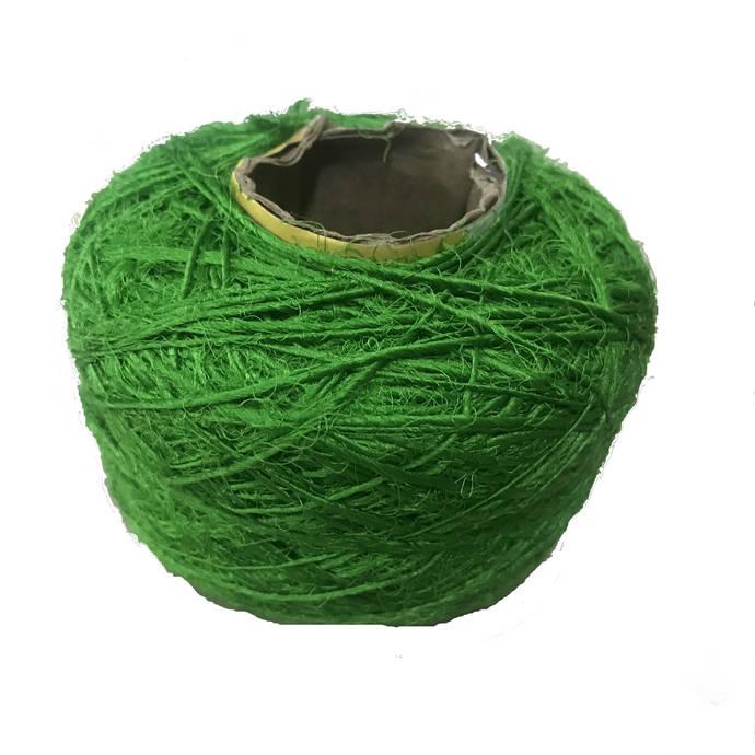 Recycled Sari Silk Yarn - Solid Color Parrot Green (100 Grams)