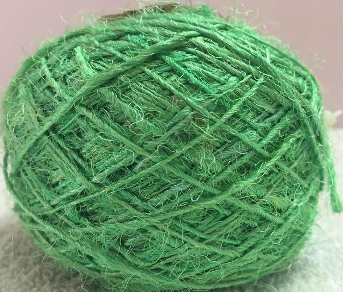 Recycled Sari Silk Yarn - Sea Green (100 Grams)
