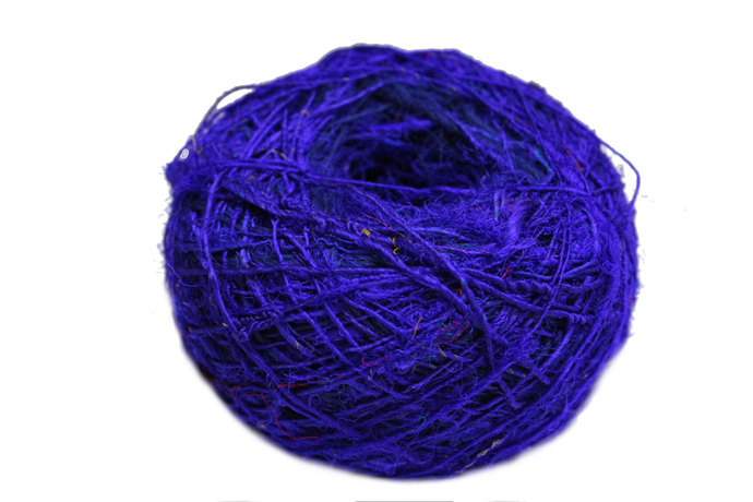 Recycled Sari Silk Yarn - Solid Color Purple (100 Grams)