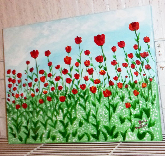 """Original Abstract Acrylic Painting, 12"""" x16""""  Painting, """"A Field of Poppies"""" ,"""