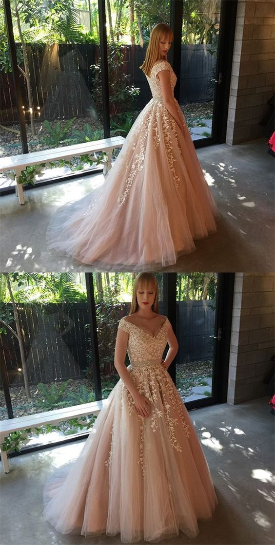 Elegant Champagne Tulle Appliques Beads Long Prom Dress, Tulle Wedding Dress