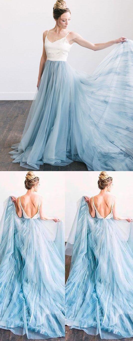 Backless Spaghetti Straps Wedding Dress, Sexy Tulle Long Prom Dresses