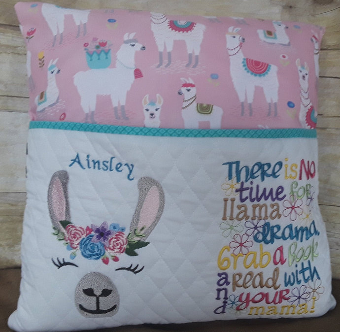 Llama Reading Pillow, Book Pillow for Girl, Personalized Decorative Pillow