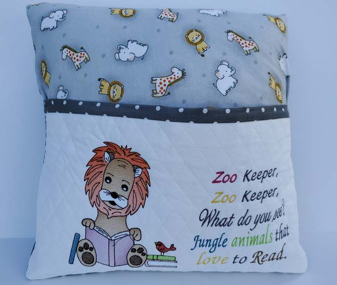 Lion baby gift, jungle nursery decor,  Personalized baby reading pillow