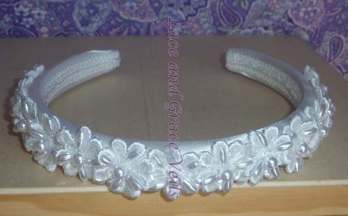 First Communion Headband, Sequins and Pearl Flowers
