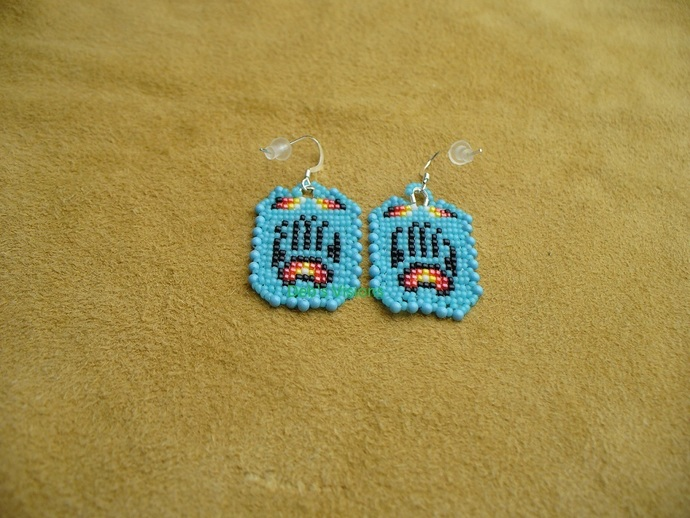 Native American Style Square Stitched Tiny Little Bear Paw Earrings in Kingsman