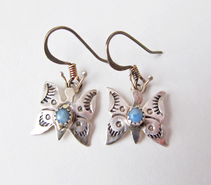 Tiny Sterling Silver Butterfly Earrings with Blue Stones