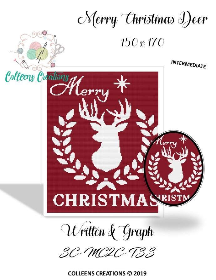 Merry Christmas Deer Crochet Written and Graph Design