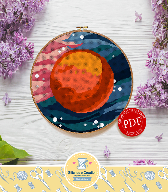 Mars | Digital Download | Round Cross Stitch Pattern |