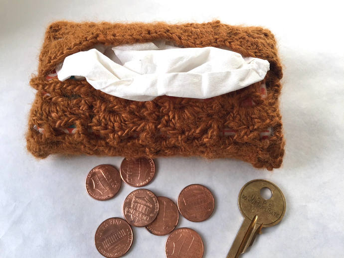 Crocheted Travel-Size Tissue Case, Cover, Cozy, Pocket-Size Kleenex Holder
