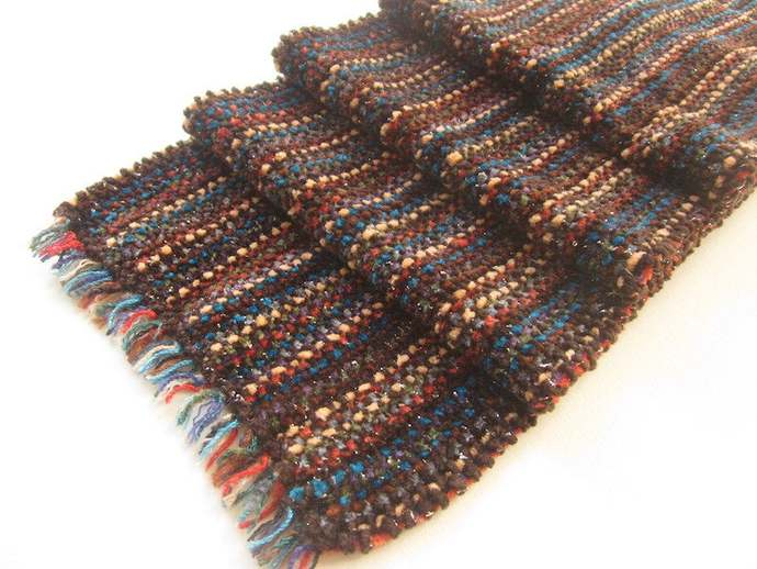 Soft Chenille Handwoven Scarf, Rich Autumn Colors