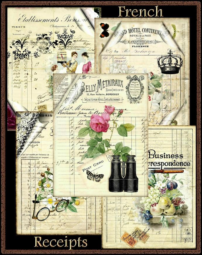 French Receipt Collage Background Papers Set - Digital Printable - INSTANT
