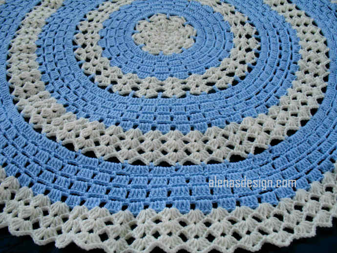 Crochet Pattern 234 Round Lace Afghan Baby Boy Blanket Crochet Pattern Blue
