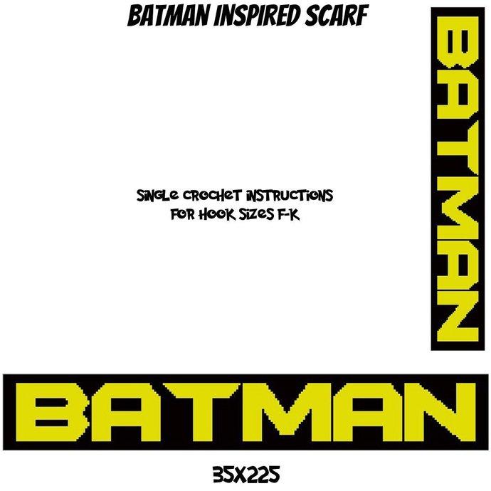 Batman Scarf Crochet Graph Pattern