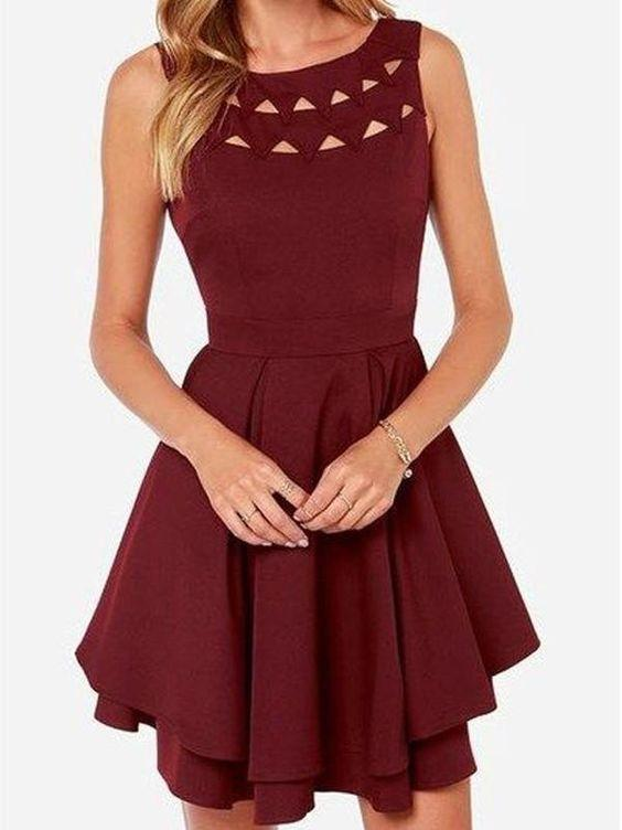 Burgundy Short Party Dress, Sexy Prom Dress, Junior Homecoming Dress