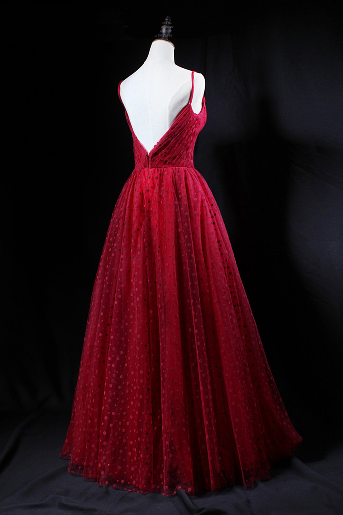 Unique red tulle V neck spaghetti long evening dress, party dress D-320