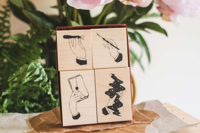 Hand Maple Wood Stamp Set B - perfect for journaling & happy mail