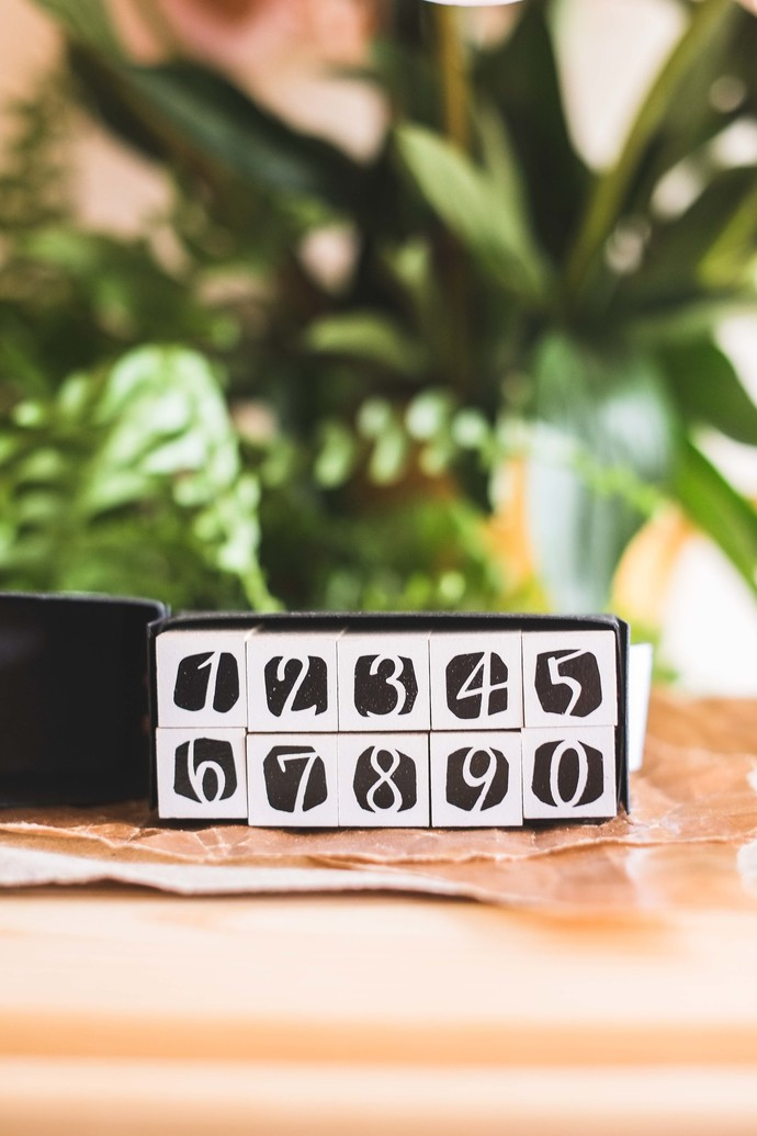 OURS Number in Black DIY Rubber Stamp set - perfect for journaling & happy mail