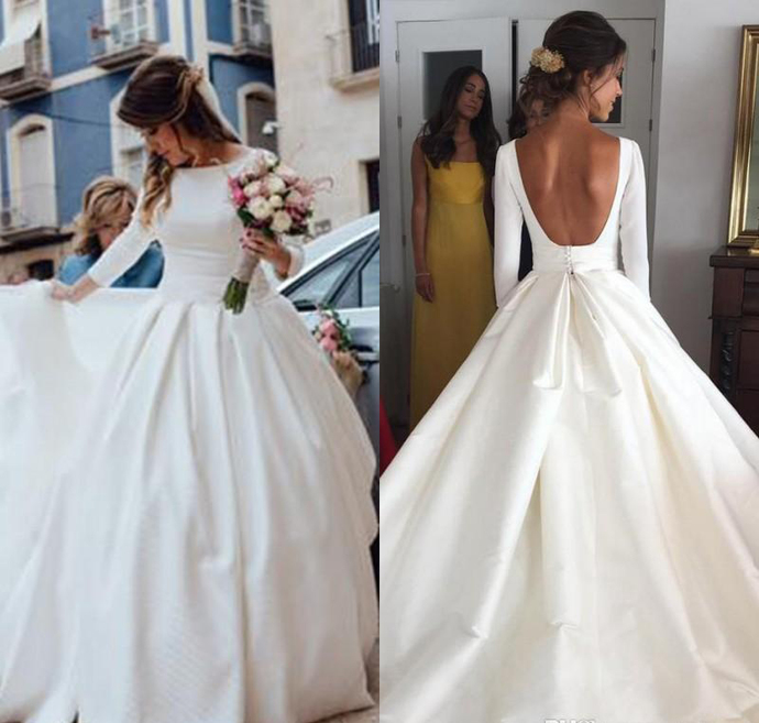 Simple Cheap Wedding Dresses 2018 New Fashion Satin A Line Long Sleeves Backless