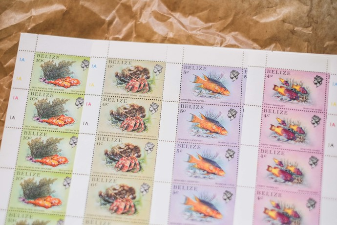 Vintage postage stamp sheets from Belize - perfect for Travelers Notebook