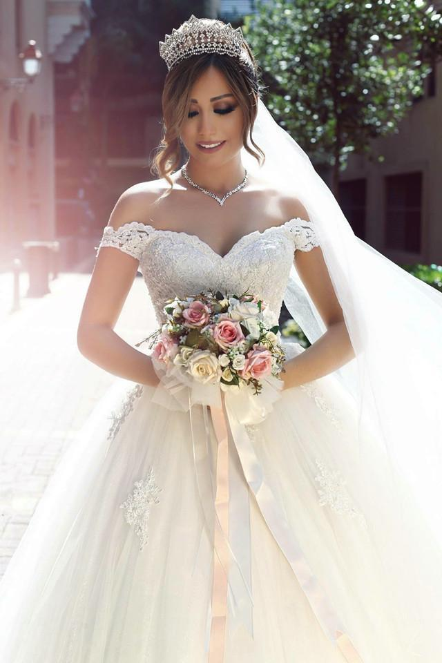 2019 Said Mhamad Off The Shoulder Wedding Dresses Empire Waist Lace Appliques