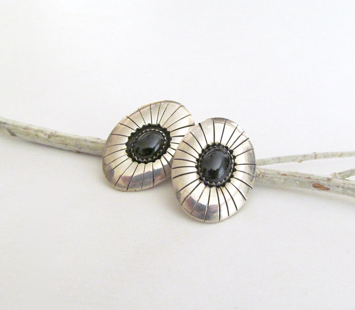 Small Sterling Silver Concho Earrings with Onyx Stones - Vintage Southwestern