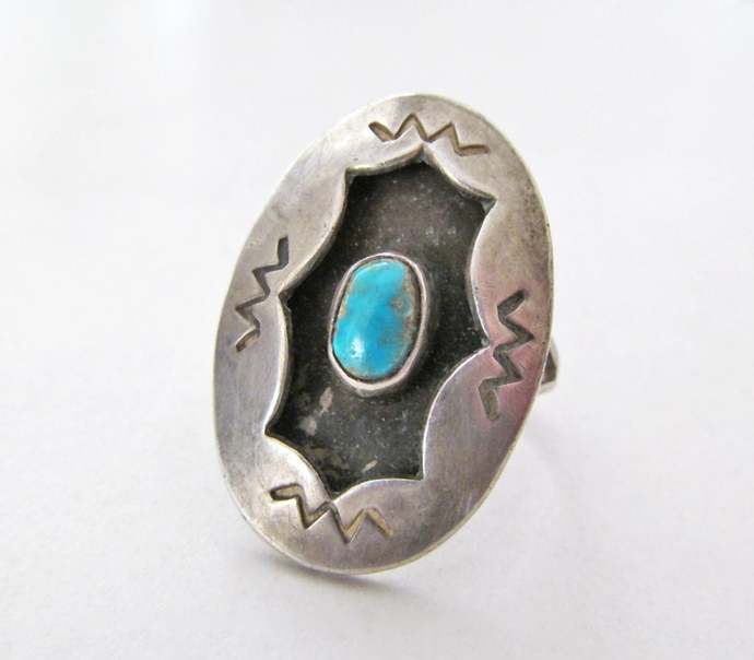 Turquoise Sterling Silver Ring, Vintage Southwestern Jewelry, Turquoise Ring,