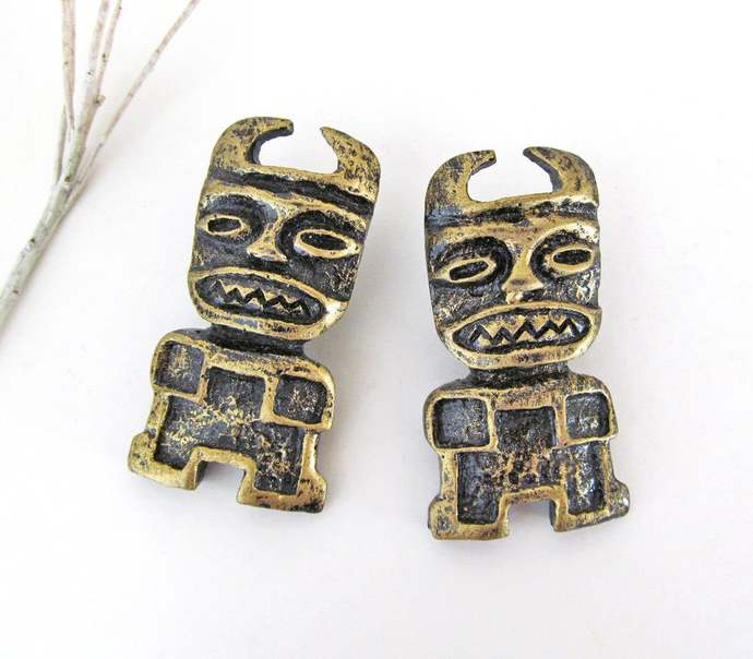 Tribal African Mask Earrings - Vintage Costume Jewelry - Bold Exotic African